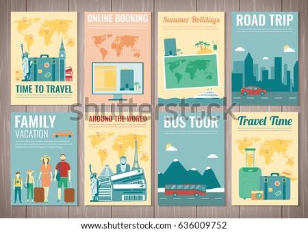 Travel Tourism Brochure Set Template Magazine Stock Vector Royalty
