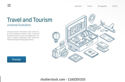 Travel, tourism business modern isometric line illustration. Open suitcase, tour map, flight ticket sketch drawn icons. Abstract 3d vector background. Vacation adventure concept. Landing page template
