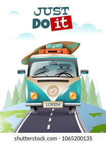 Travel tourism composition with text outdoor landscape and images of hippie minibus driving along earth globe vector illustration