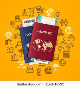 Travel and Tourism Concept Card with Realistic Detailed 3d Passport, Airplane Tickets and Thin Line Icons. Vector illustration
