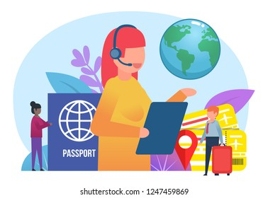 Travel, tourism concept. Small people stand near big female travel agent. Poster for web page, banner, presentation, social media. Flat design vector illustration