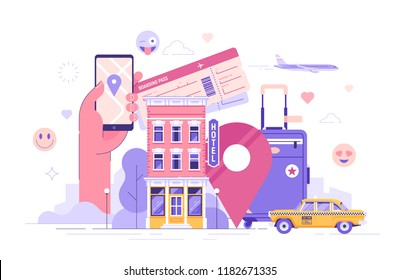 Travel and tourism concept. Summer vacation and air trip banner. Booking hotel. Colorful flat vector illustration.