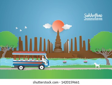 """Travel and Tourism concept to Thailand with Bus in SUKHOTHAI thailand """"Pig car"""" into  temple in the Sukhothai Historical Park.vector and illustration craft style."""