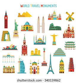 Travel and tourism famous world monuments