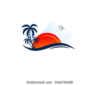 Travel tourism hotel logo template. Abstract palm, human character, sea waves and sun. Travel happiness sign. Beach resort icon