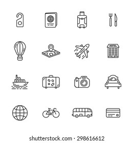 Travel, tourism and hotel thin line icons