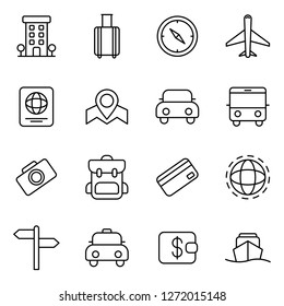 Travel and tourism icons pack. Isolated travel and tourism symbols collection. Graphic icons element