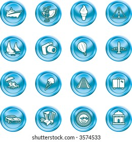 Travel and tourism Icons. A series of icons relating to vacations, travel and tourism. No meshes used.
