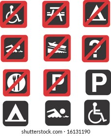 travel and tourism icons vector including 'No Parking' and other signs