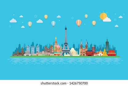 Travel and tourism. Landmarks and famous places on tropical island. Vector illustration