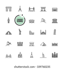 Travel and tourism locations Landmark icons