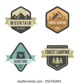 Travel Tourism Logo Badges design vector template Hipster Vintage style. Hiking Trekking Mountains, Forest Camping, Hunting logotypes