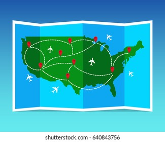 Globe marker images stock photos vectors shutterstock travel and tourism map united states of america folded world map with airplanes and markers gumiabroncs Images