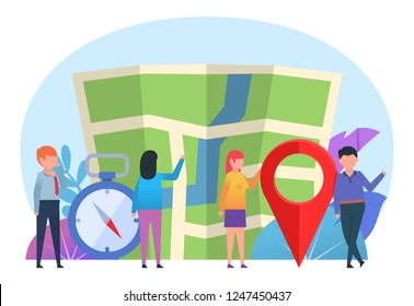 Travel, tourism, orienteering concept. Small people stand near big map, location point, compass. Poster for web page, banner, presentation, social media. Flat design vector illustration