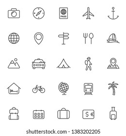 travel and tourism outline vector icons set isolated on white background. travel and tourism outline flat icons for web and ui design. summer recreation concept
