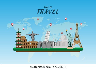 Travel and tourism . Road trip . Landmarks and pin map . Modern flat design . background