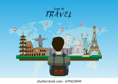 Travel and tourism . Road trip . Landmarks and pin map . Modern flat design. backpacker. background