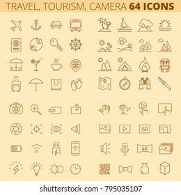Travel, tourism, summer holidays and vacations outline icons. Photo, video camera linear symbols. The luggage, open-air restaurant, picnic, forest, sea, camp, hiking. Vector thin line sign, icon set.