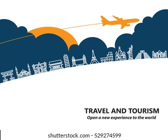 Travel and tourism and  transport .The landmarks of the world as the background