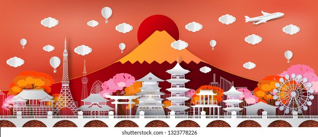 Travel and tourism  .Traval to japan of world famous landmarks  of Japan in autumn season with a plane and balloon.concept vector paper art and digital craft style.