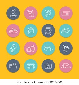 Travel, tourism, trip, tour line icons in color circles with shadow, vector illustration