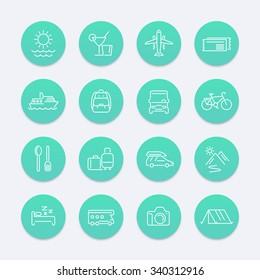Travel, tourism, trip, tour line aquamarine icons pack, vector illustration
