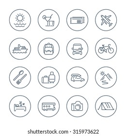 Travel, tourism, trip, vacation line icons pack, vector illustration