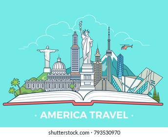 Travel tourism type banner flat linear style vector collage infografics. American vacation monument collage. North and South America sightseeing architecture landmarks tourist attractions on open book