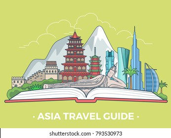 Travel tourism type banner flat linear style vector collage guide infografics. Asia vacation monument collage. Asian architecture landmarks tourist attractions on open book