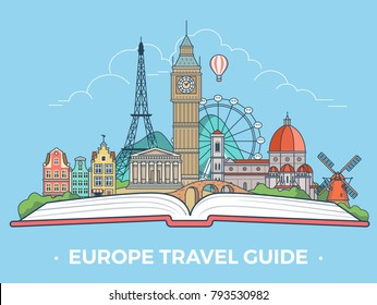 Travel tourism type banner flat linear style vector collage infografics hero slider. European vacation monument collage. Europe sightseeing landmarks and tourist attractions on open book.