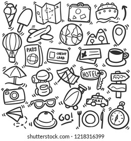 Travel Tourism Vacations Traditional Doodle Icons Sketch Hand Made Design Vector