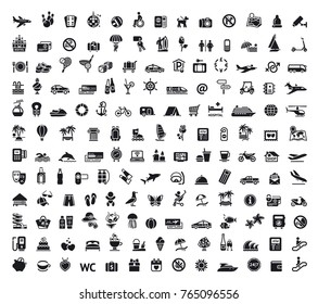 Travel, tourism, voyage, plane, ticket vector illustration icons collection, symbol, pictogram, set