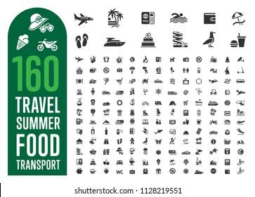 Travel, tourism, voyage, summer, food, transportation, plane, ticket vector illustration icons collection, symbol, pictogram, set