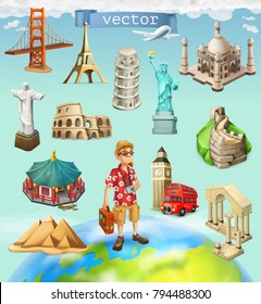 Travel, tourist attraction. 3d vector icon set on background