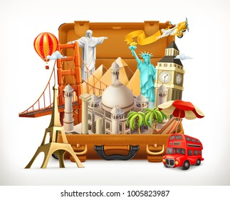 Travel, tourist attraction in suitcase, 3d vector illustration