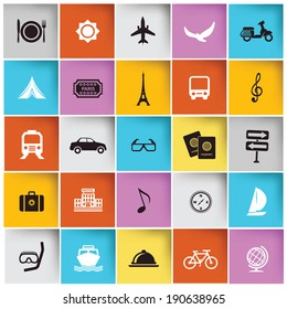 Travel and tourist icons,vector