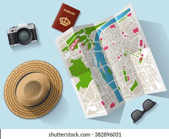 Travel  tourist map and other equipment