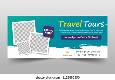Travel tours banner template, horizontal advertising business banner layout template flat design set , clean abstract cover header background for website design
