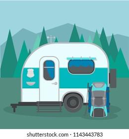 Travel trailer caravan with landscapes. Camper van classic traveling van adventure exploring nature around the world
