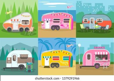 Travel trailer concept set. Camping trailer caravan collection. Traveler truck campsite place landscape. Mountains, Forests, sea beach and road trip. Caravans with different landscapes.