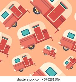 Travel trailer flat icon seamless pattern.