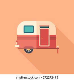 Travel trailer flat square icon with long shadows.