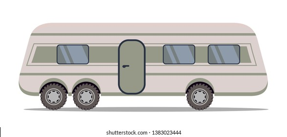Travel trailer flat vector illustration. Road trip van, vehicle. Mobile home isolated sticker. Compact travelling motorhome. Movie star living bus. Modern RV caravan isolated drawing