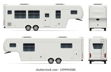 Travel trailer vector mockup on white background for vehicle branding, corporate identity. View from side, front, back. All elements in the groups on separate layers for easy editing and recolor