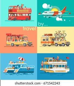 Travel transport set. Trip to world by different vehicles. suv car, english bus, plane, tourist boat, yacht, bicycle. Flat vector illustration. 3d style.