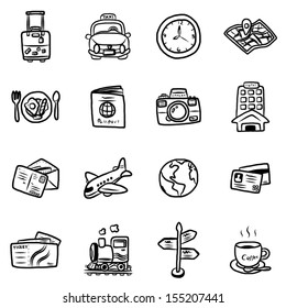 travel and transportation objects or icons / cartoon vector and illustration, hand drawn style, isolated on white background.