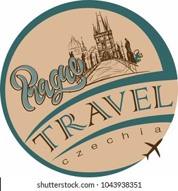Travel. A trip to the Czech Republic. The City Of Prague. Sketch. The Charles bridge. The design concept for the tourism industry. Vector illustration.