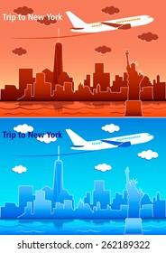 Travel trip Statue airplane skyscrapers