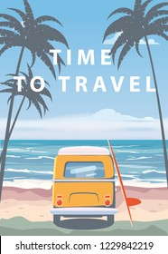 Travel, trip vector illustration. Ocean, sea, seascape. Surfing van, camper, bus on beach. Summer holidays. Ocean background on road trip, retro, vintage. Tourism concept, cartoon style, isolated