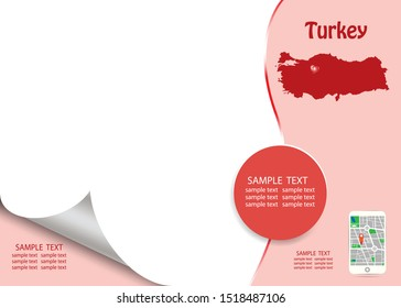 Travel Turkey template vector in red and white color showing the blind Turkish map and smart  phone with city map app on the right side and a lot of a free space for your text on the left side.